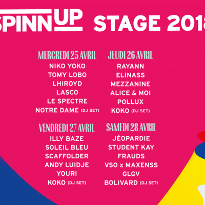 Spinnup Stage 2018 : La programmation
