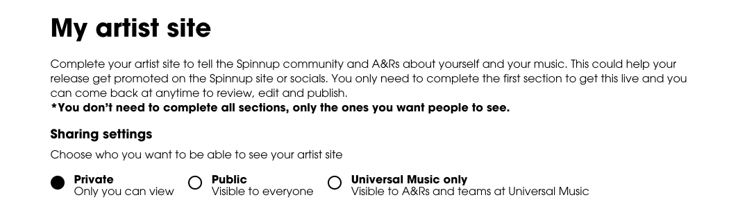 Spinnup My Artist Site - Sharing Settings