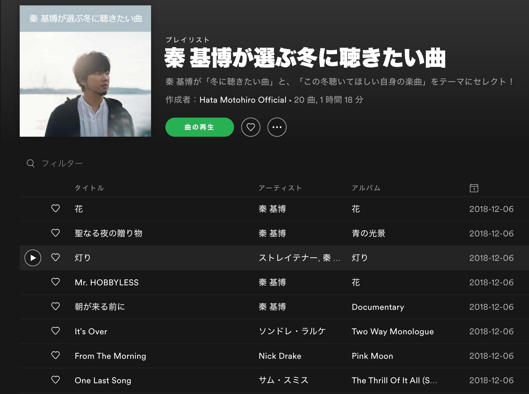 Hata Motohiro Official Playlist