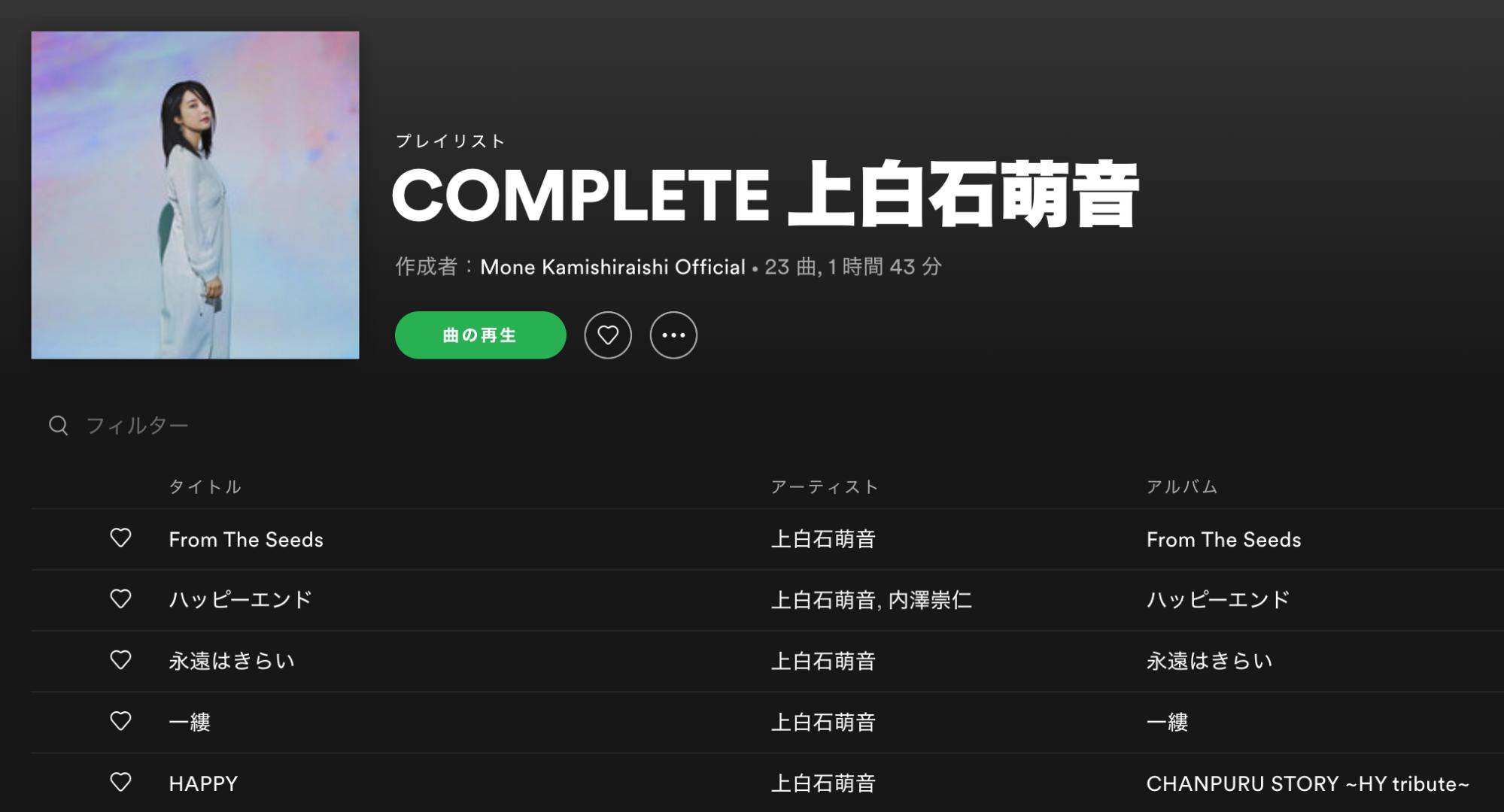 Mone Kamishiraishi Official Playlist