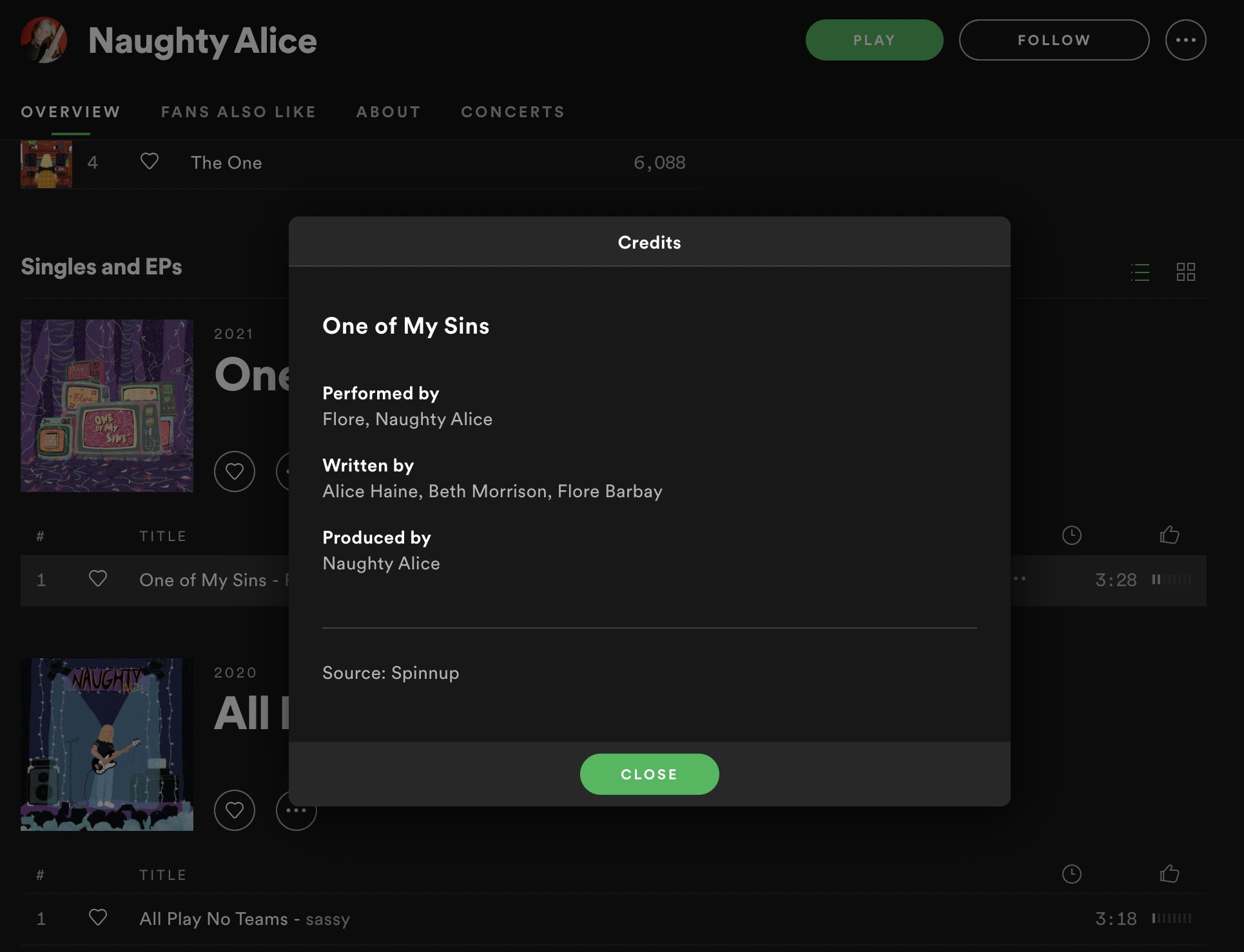 Spotifyの楽曲クレジット